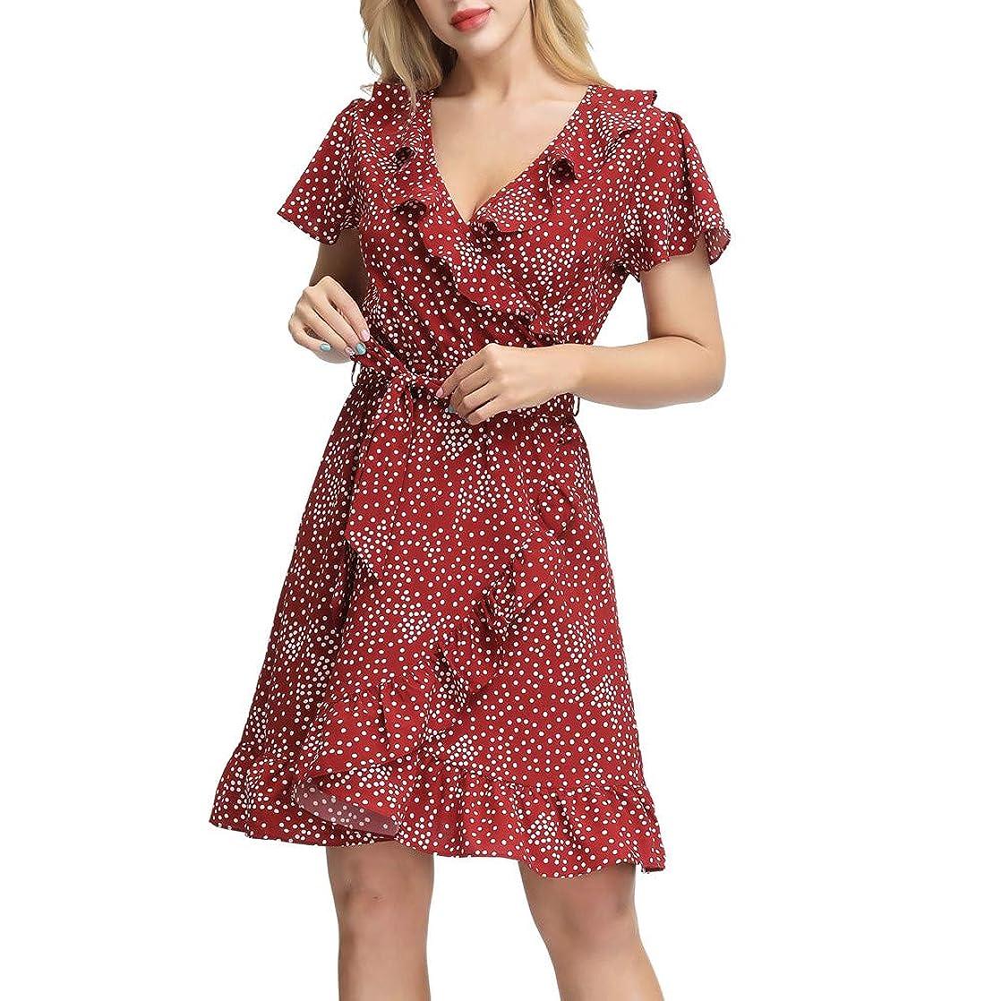 CURLBIUTY Women's Polka Dot Dresses Casual Summer V Neck Ruffle Wrap Short Dress sjgasvdp18795
