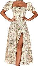 Zomerjurk voor dames, mode vrouwen chiffon casual bloemenprint vierkante kraag bladerdeeg korte mouwen split lange jurk A-...
