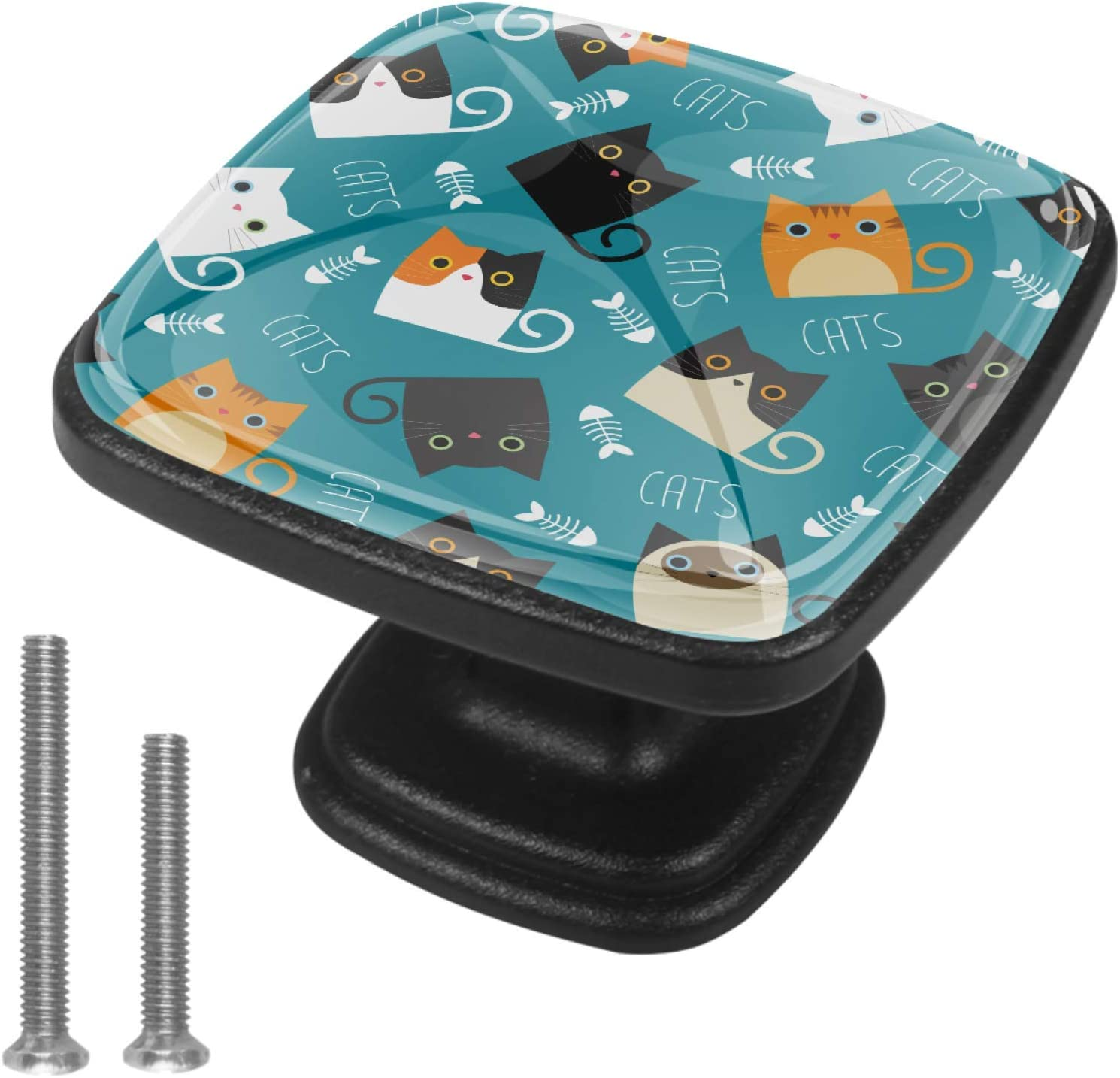 Lenergy Cabinet Knobs Cats Fish Bones Drawer Knobs Modern Pull H