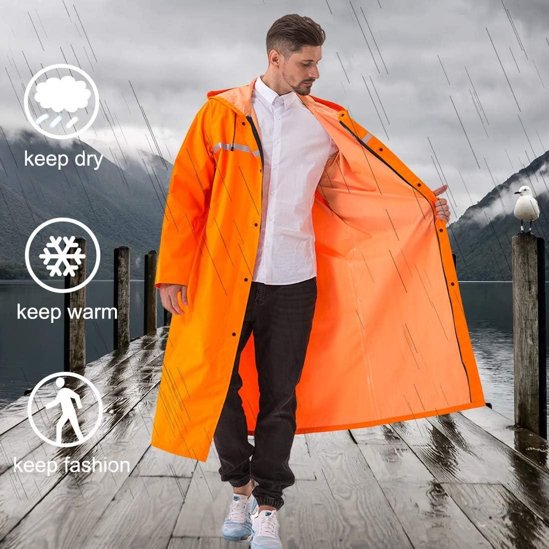 Panegy Waterproof Raincoat Long Hooded Rain Poncho Windbreaker Reflective Jacket Lightweight