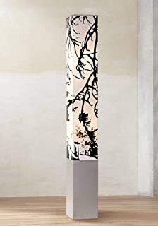 Asian Floor Lamp Gray Metal Tower Base Autumn Branch Shade Design for Living Room Bedroom - Possini Euro Design