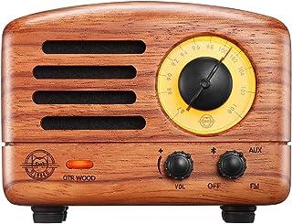 Retro Bluetooth Speaker, MUZEN OTR Wood 5W Mini FM Portable Radio with Wireless Vintage Speaker, Hand Crafted Rosewood Lou...