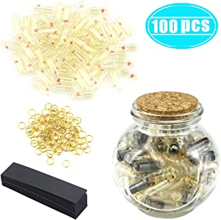 Hslife 100 Pcs Blcak Love Capsules, Letters Message Letters Message Wish Bottle, Birthday Present Party Gift