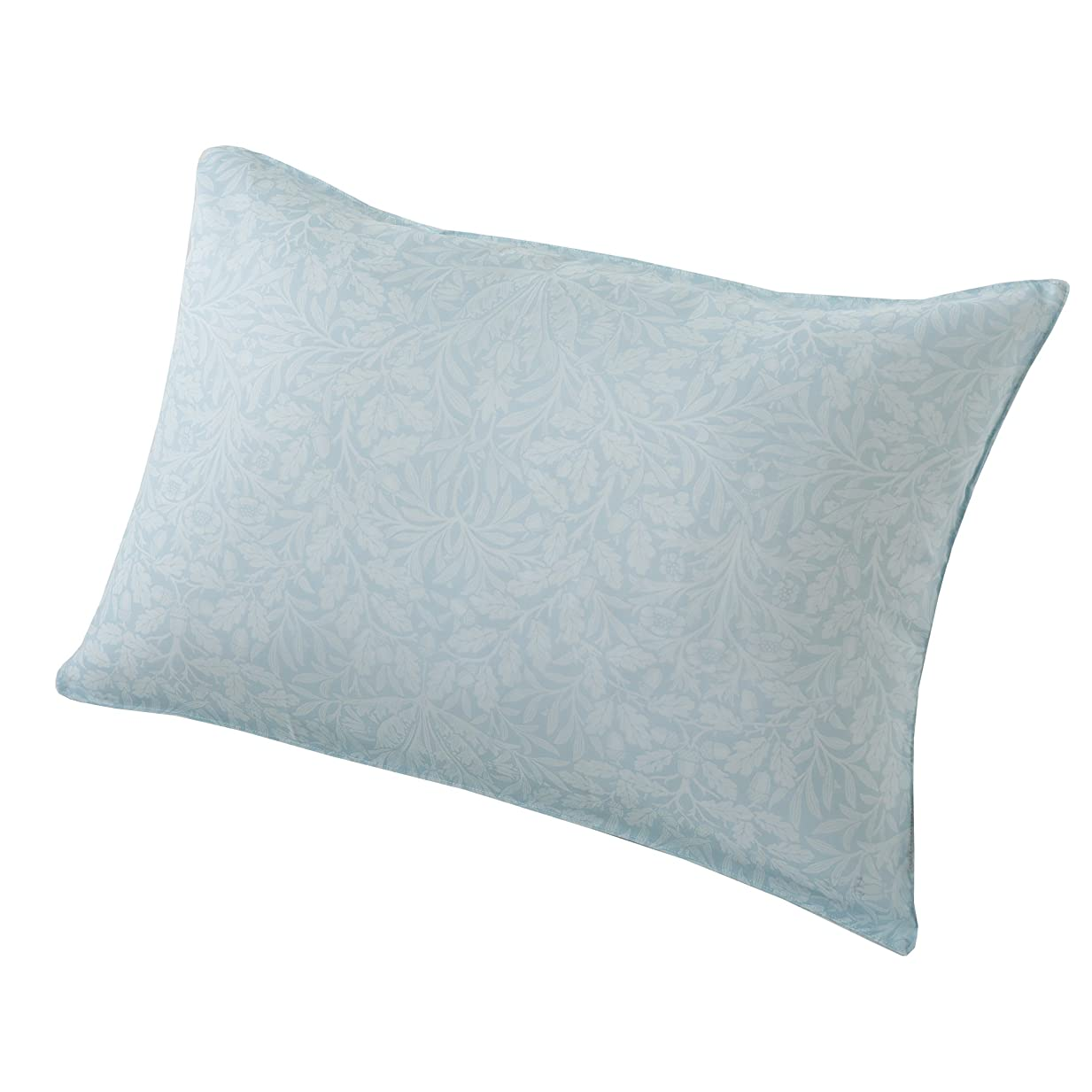 販売員先史時代のお尻東京西川 枕カバー ブルー 63X43cmのサイズの枕に対応 ワイドサイズ ピュアモリス エイコーン柄 日本製 PJ98309683B
