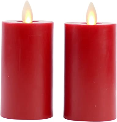 """Raz Imports 2""""X3.5"""" Moving Flame Red Votive Candle, Set of 2 - Flameless Lighting Accent and Battery Operated Flickering Light Source with Timer - Fake Candles for Living Room, Patio and Bedroom"""