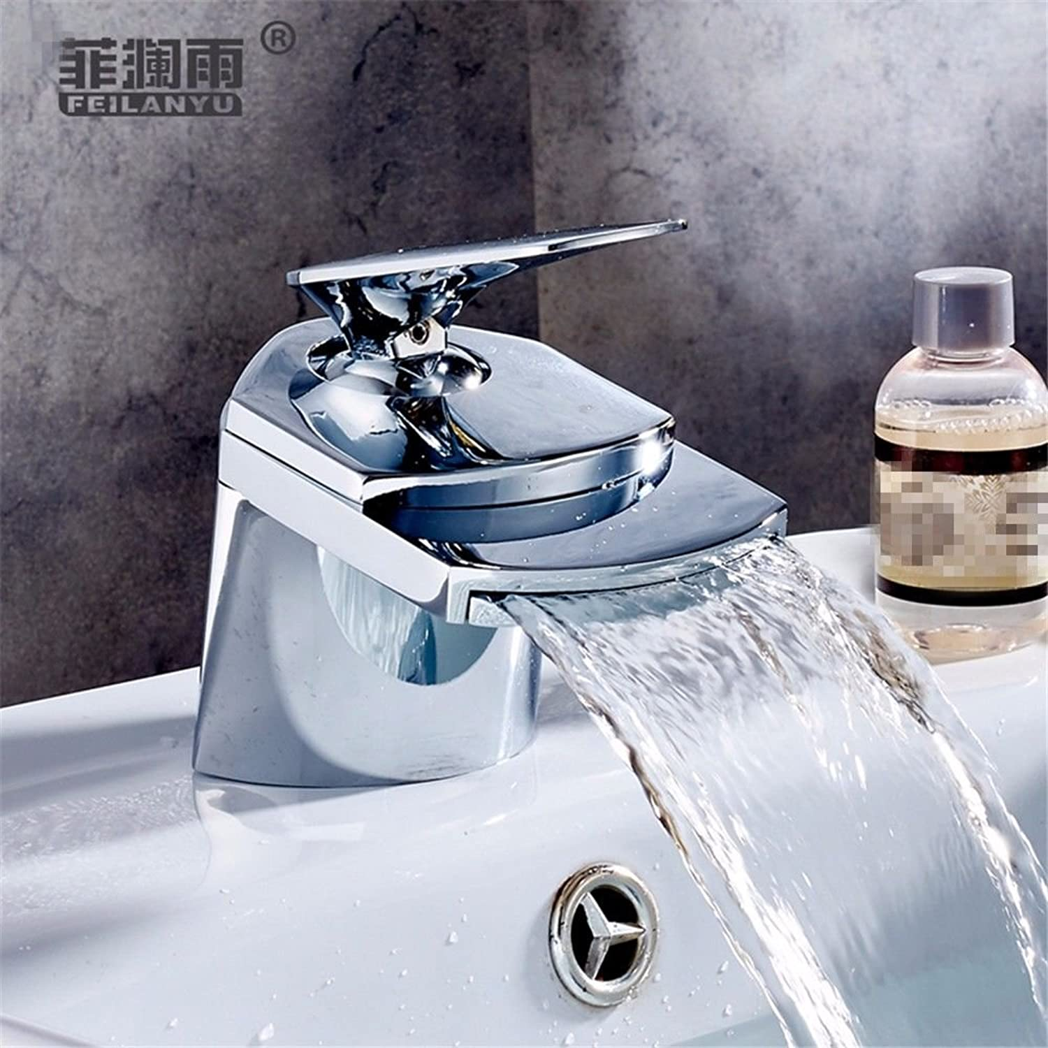 Lalaky Taps Faucet Kitchen Mixer Sink Waterfall Bathroom Mixer Basin Mixer Tap for Kitchen Bathroom and Washroom Chrome Stainless Steel Copper Waterfall Single Hole Hot and Cold
