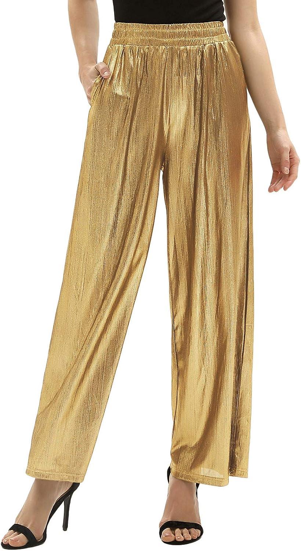 60s Pants, Jeans, Hippie, Flares, Jumpsuits GRACE KARIN Women's Casual Loose Elastic Shiny Pocket Wide Leg Pants Trousers  AT vintagedancer.com