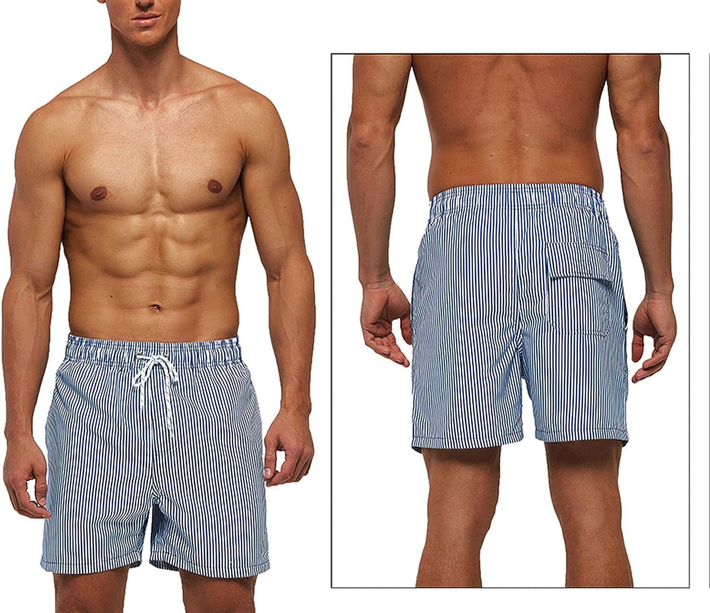 Fast Dry Men Board Shorts Vertical Stripe Design Summer Beach Surfing Man Swim Plus Size XXXL
