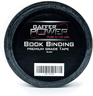Bookbinding Tape by Gaffer Power, Black Cloth Book Repair Tape Safe Cloth Library Book Hinging Repair Tape, Made in The USA, Acid Free and Archival Safe