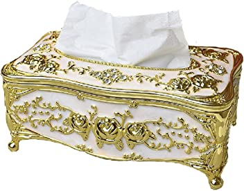 stile europeo Lussuoso rosa scatola di fazzoletti Coperchio del supporto Galvanotecnica processi Portarotolo rose Tissue Box gold