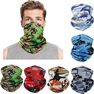 6Pcs Cool Breathable Seamless Washable Face Covers Neck Gaiter UV Protection, Summer Bandana Face Neck Scarf, Tube Balaclava Headwear for Men Women