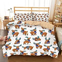 Deer Khaki Duvet Cover Set King Size,Mooses in Cartoon Elks with Rainbow Antlers Kid Cheerful Comic Pattern,Decorative 3 Piece Bedding Set with 2 Pillow Shams,Ginger Turquoise Lavander