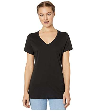 PACT Organic Cotton Featherweight V-Neck Tee (Black) Women