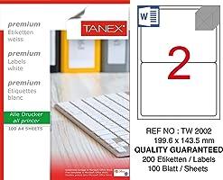 Tanex Tw-2002 Lazer Postalama, Davetiye, Kargo Işleri Için Her Pakette 100 Sayfa Etiket, Beyaz