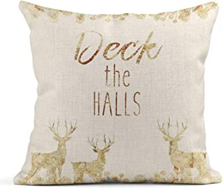 Tarolo Linen Throw Pillow Cover Case Deck The Halls Seasons Decorative Pillow Cases Covers Home Decor Square 16 x 16 Inches Pillowcases