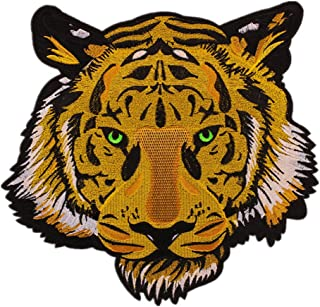 HMQD Large Embroidered Patch Iron on Yellow Tiger with Green Eyes Good for Motor Jacket Fashion Patches