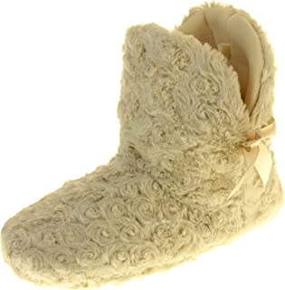 Ladies Synthetic Fur Warm Cosy Fleece Lined Bow Design Comfy Flat Boot Slippers
