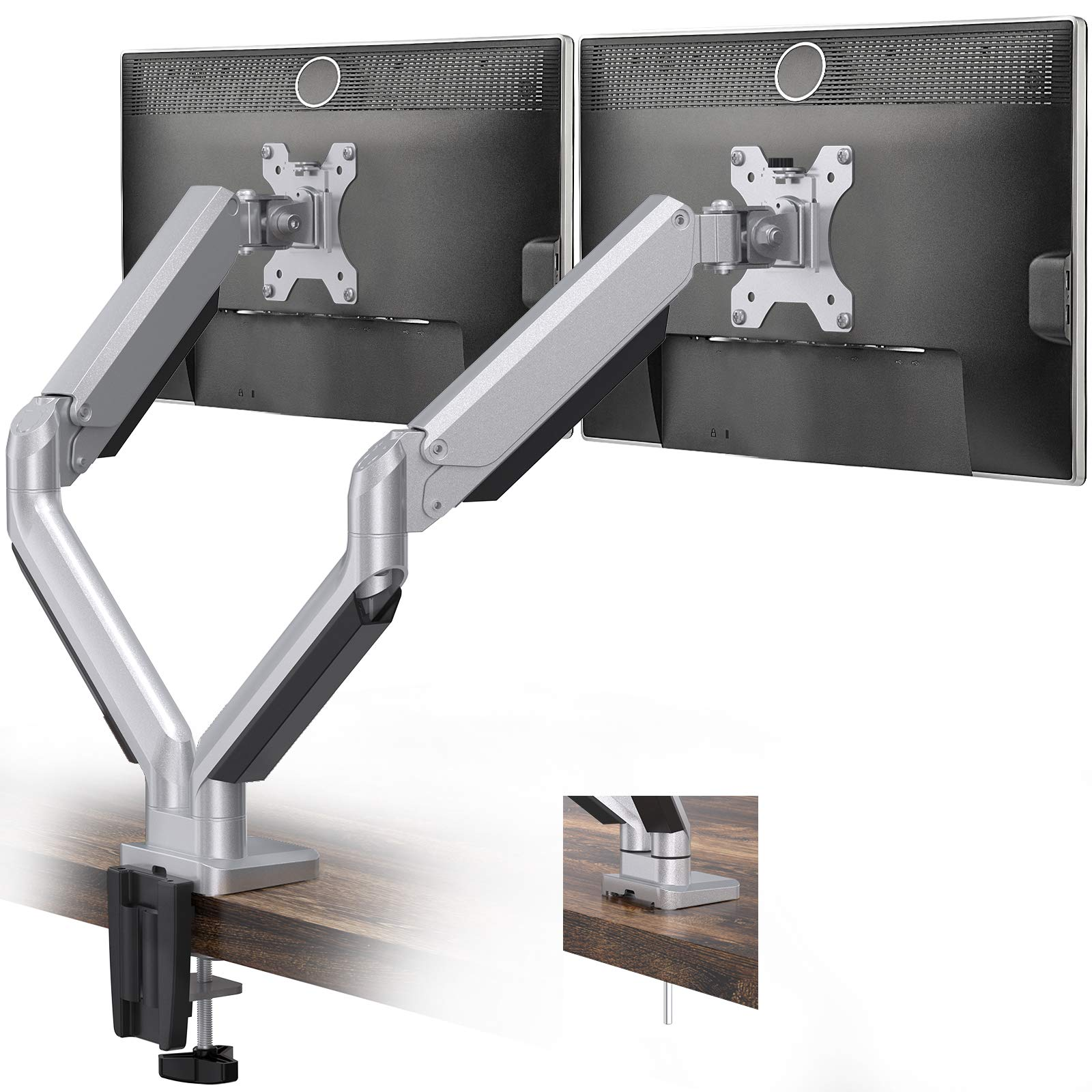 Dual Monitor Mount Stand - Height Adjustable Gas Spring Monitor Desk Mount Swivel VESA Bracket Fit Two 17 to 32 Inch Computer Screens with Clamp, Grommet Mounting Base, Each Arm Holds up to 17.6lbs
