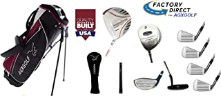 AGXGOLF: Men's Left Hand Exec Edition Golf Club Set; w/Stand Bag + Oversize Driver + 5 & #7 Utility Wood: Oversize SS Irons + Putter; Cadet, Regular or Tall Length: USA Built