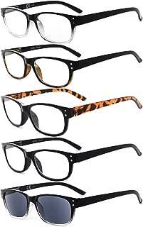 Eyekepper 5-Pack Spring Hinges Vintage Reading Glasses Includes Sunglasses Readers +1.75