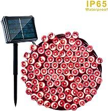 Solares De Jardín, Luces 22M 200 Luces Solares De La Luz De Exterior Impermeable Luces Decorativas para Patio, Puerta, Patio, Árboles, Barbacoa, Boda, del Partido,Rojo