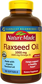 Nature Made Flaxseed Oil 1000 mg Softgels, 180 Count for Heart Health