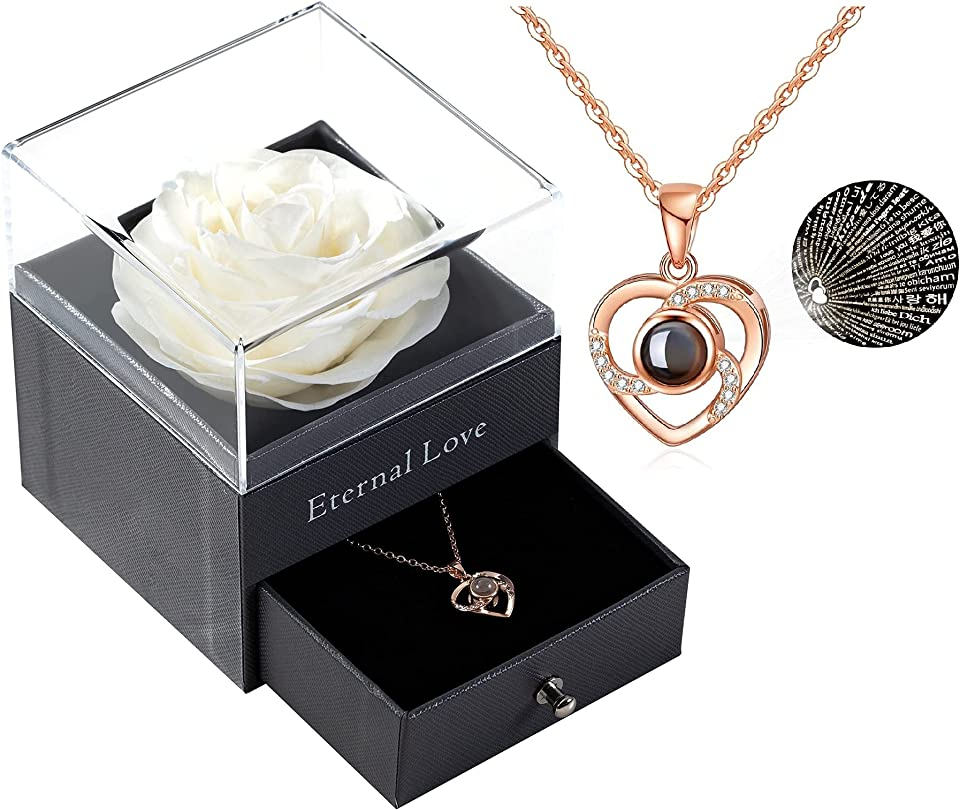 Preserved Real Rose with Love You Necklace in 100 Languages Gift Set, Enchanted Real Rose Flower for Valentine's Day Anniversary Wedding Bthday Romantic Gifts for her (White)