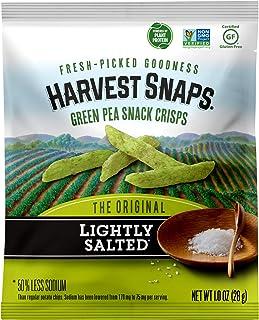 Harvest Snaps Green Pea Snack Crisps Lightly Salted, 1.0 oz (Pack of 24). Plant-based | Baked, never fried | Certified Glu...