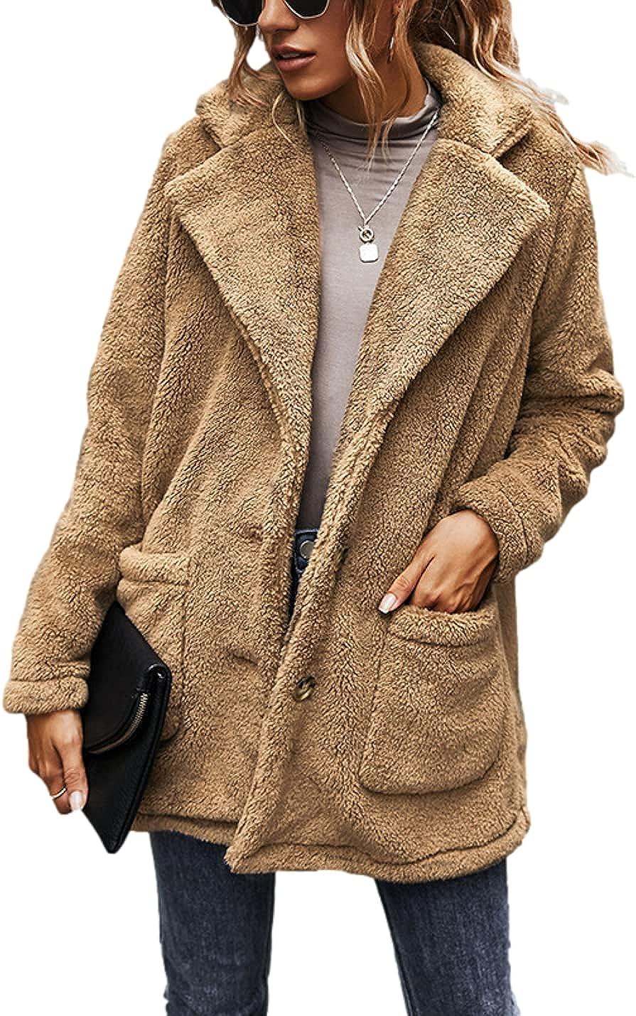 Bnigung Women's Fuzzy Fleece Lapel Open Front Button Down Cardigan Coat Faux Fur Warm Winter Outwear Jackets