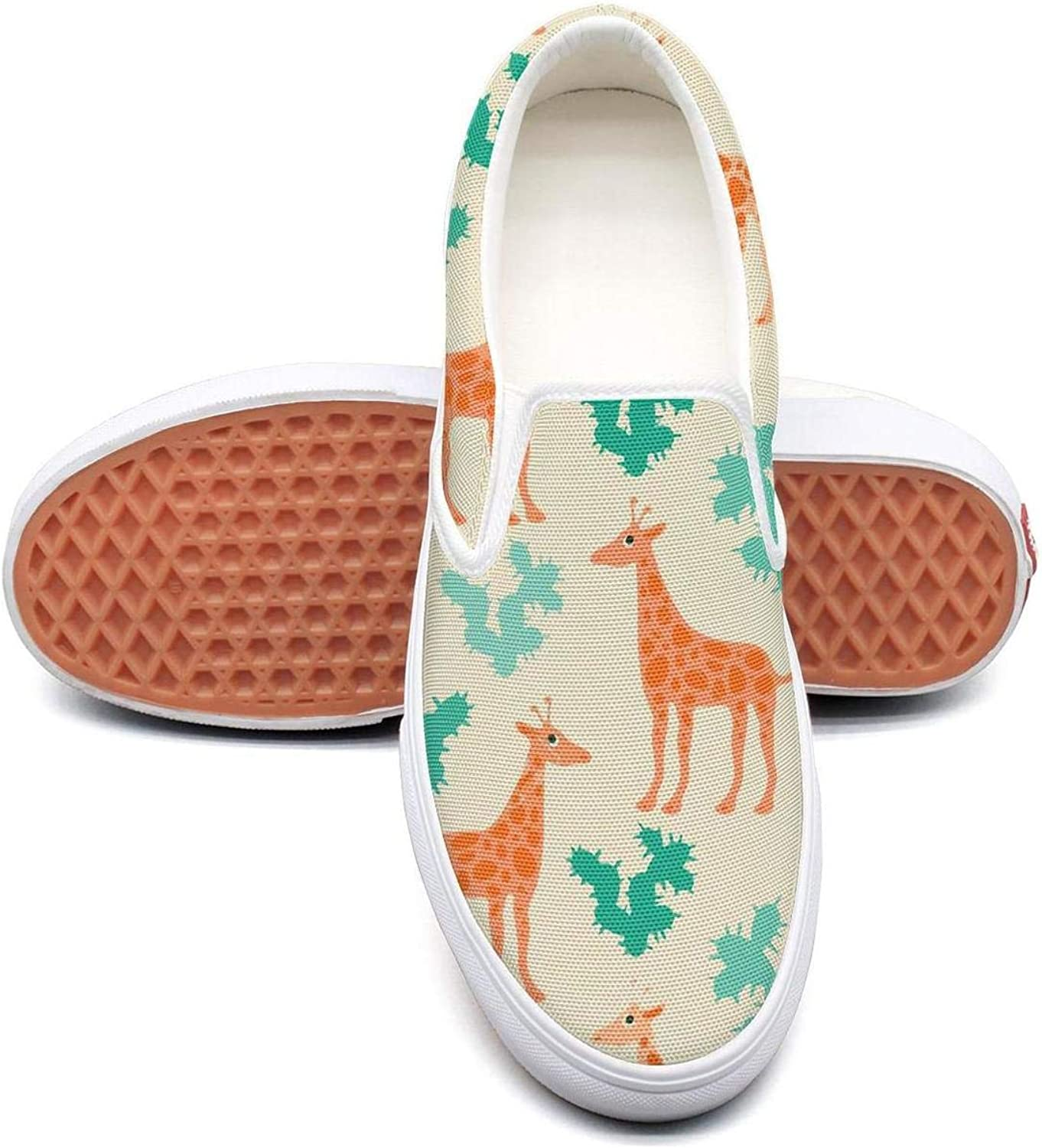 Lalige Giraffes and Cactus Cool Women Comfortable Canvas Slip-ONS Walking shoes