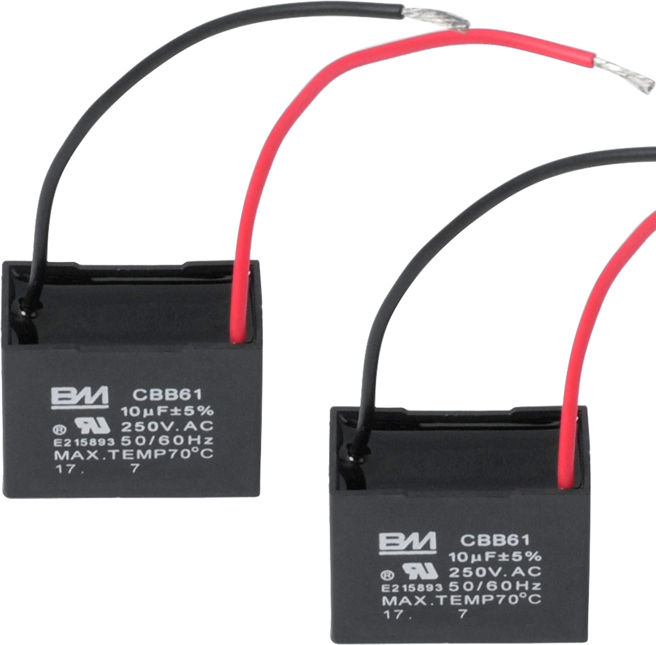 Amazon.com: Wadoy CBB61 Fan Capacitor 2 Wire 10uf, 2 Pack Celiling Fan  Capacitor 250V: Home Audio & TheaterAmazon.com