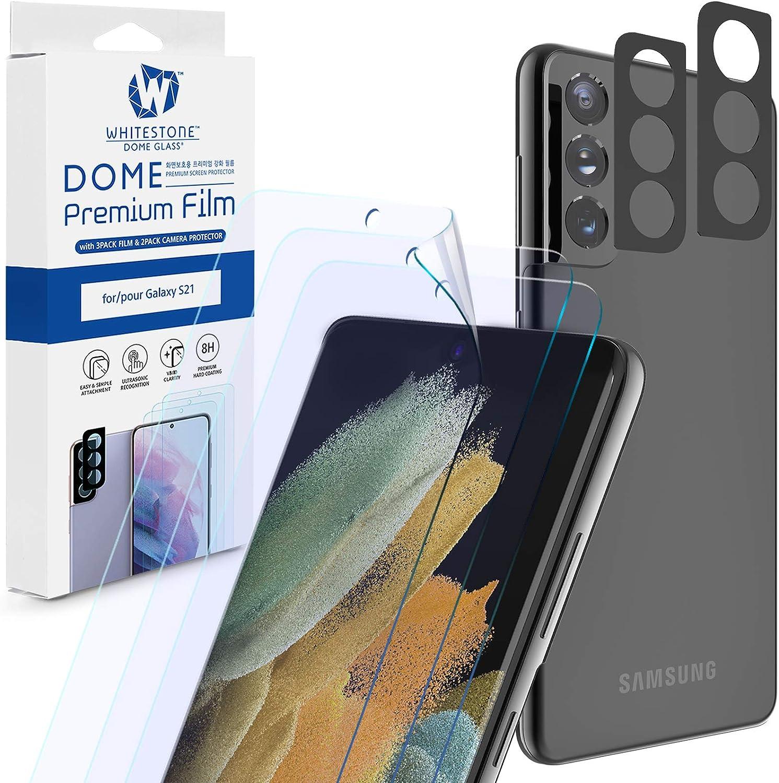 [3+2 Pack] [Dome Premium Film] Galaxy S21 8H Hard Coat Film Screen Protector by Whitestone, 2Pack Camera Lens Protector and 3Pack Hard Screen Protector - Five Pack