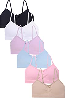 I&S Girl's Seamless Cami Crop Top Training Bras Adjustable Straps with Removable Padding - Value Pack of 6 Bras