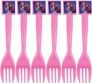 Emotions Frozen Print Fork Set for Girls, 6 Pieces - Pink