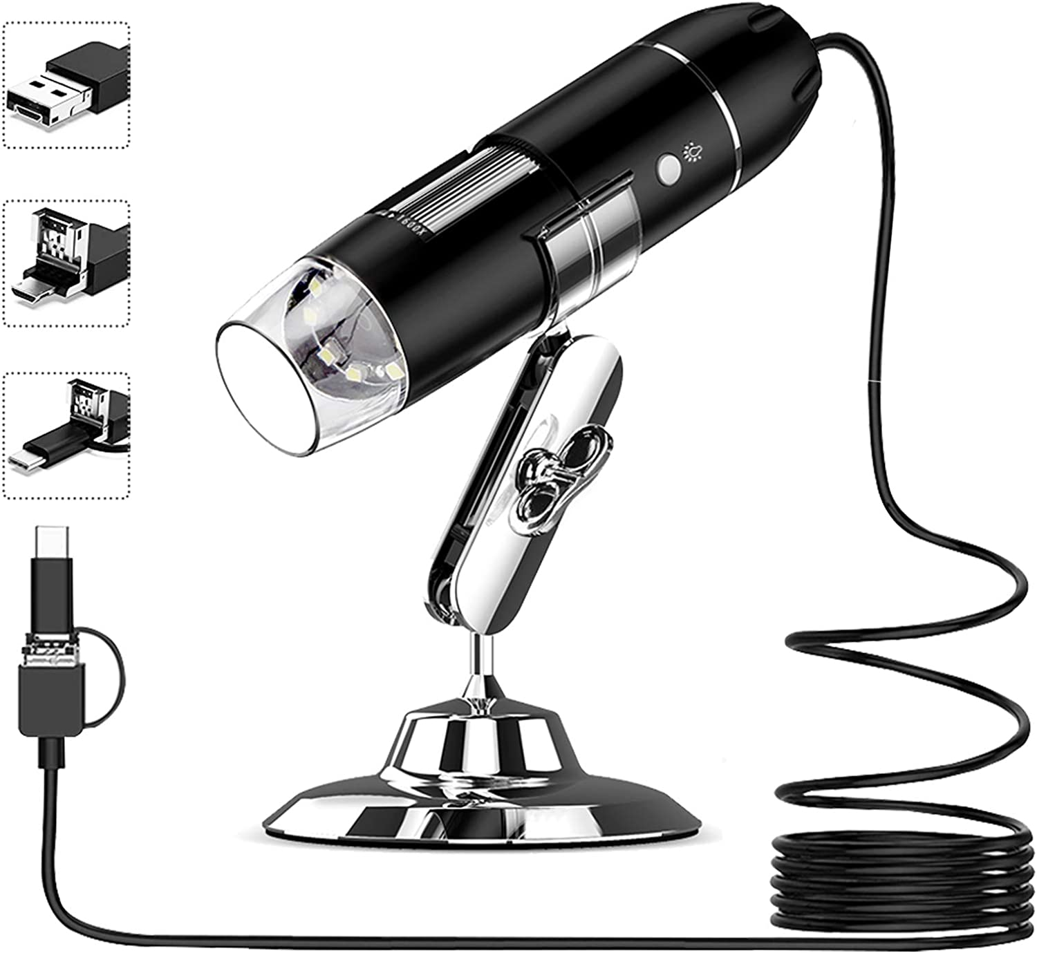 USB Digital Microscope 50X to 1600X, 8 LED Magnification Microscope Camera, with OTG Adapter and Metal Stand, Compatible with Mac Window 7/8/10 Android Linux, Handheld USB Phone Microscope : Camera & Photo