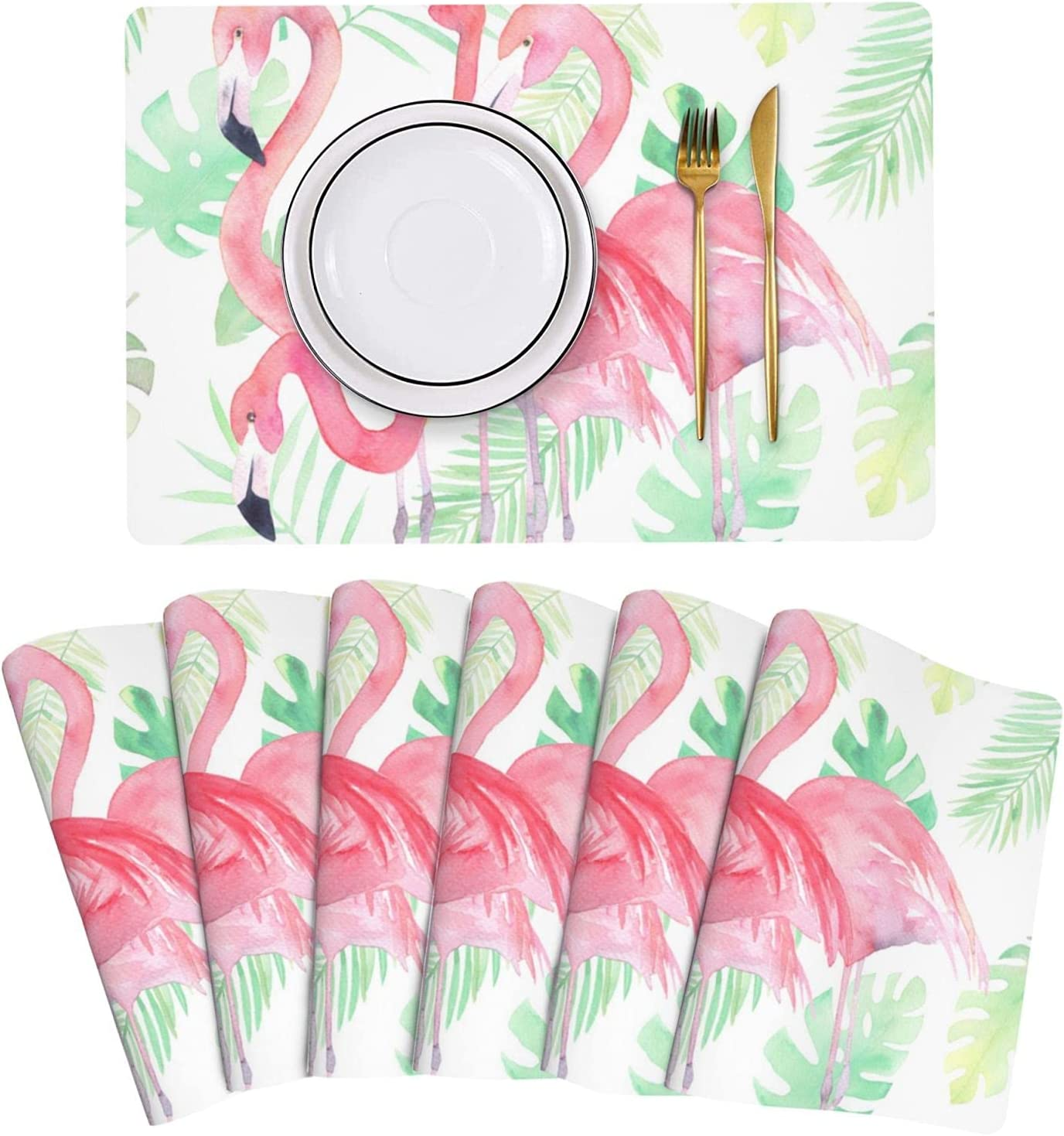 Watercolor Leaf Pink Flamingo Placemat Table Mats Leather of Challenge Gifts the lowest price Set
