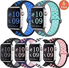Zekapu Compatible with Apple Watch Band 40mm 44mm 42mm 38mm, Breathable Silicone Sport Replacement Wrist Band Compatible for iWatch/Apple Watch Series 4/3/2/1