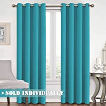 FlamingoP All Season Thermal Insulated Solid Grommet Top Blackout Curtains / Drapes for Kid's Room (Single Panel, 52 x 96 Inch in Teal)