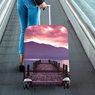 sunrise and pier view Pattern Print on Suitcase Protectors Travel Luggage Covers Fit 18-28 Inch Luggage