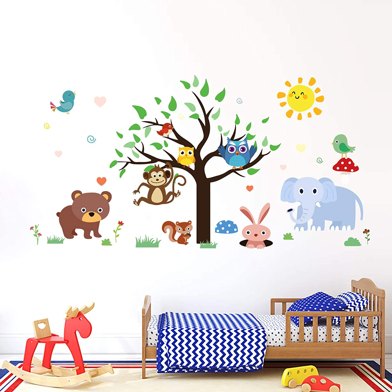 Animal Wall Decal Safari Wall Decal Elephant Wall Decal,Removable Jungle Wall Decal Animal Wall Sticker for Kids Boys Baby Room Nursery 71