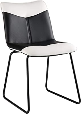 HomeRoots Furniture Accent Chair in Black and White Leatherette (319087)
