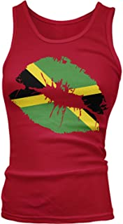 Junior's Jamaican Flag Lips, Flag of Jamaica Kiss Tank Top