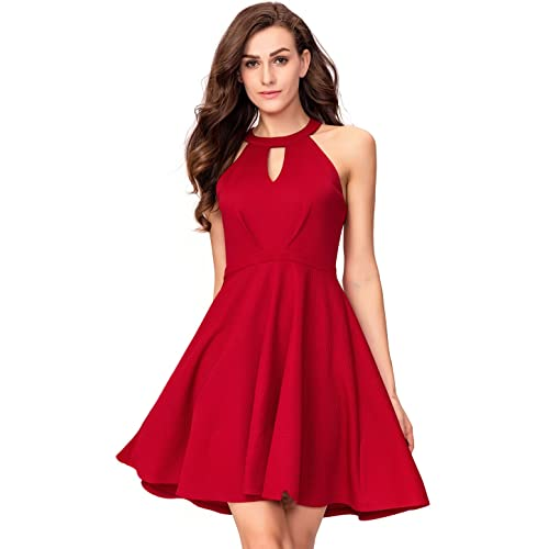 dec38a3a63ae InsNova Women s Halter Skater A-Line Cocktail Dress Keyhole Neck Backless