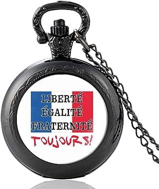ZDANG France Drapeau National Montre de Poche à Quartz Hommes Femmes dôme en Verre Pendentif Heures Horloge-Noir