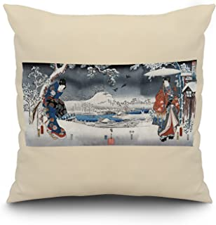 A Modern Version of the Tale of Genji in Snow Scenes - Japanese Wood-Cut Print (20x20 Spun Polyester Pillow, White Border)
