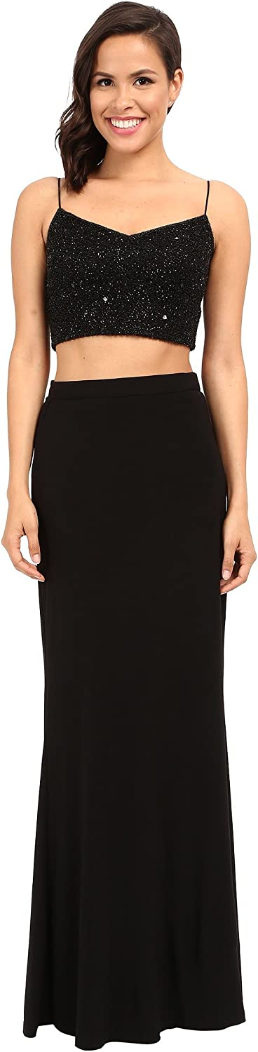 Adrianna Papell Womens Mesh Embellished Crop Top Black 12