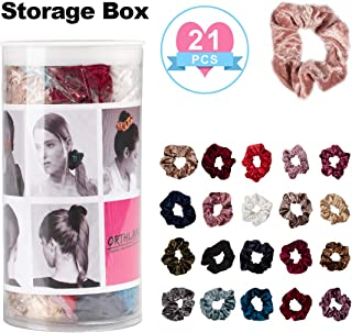 Velvet Hair Scrunchies for Women, Elastic Hair Bands Scrunchy Ties Ropes for Girls - Assorted Colors Beauty Hair Accessories with Sturdy Box (21 pcs)