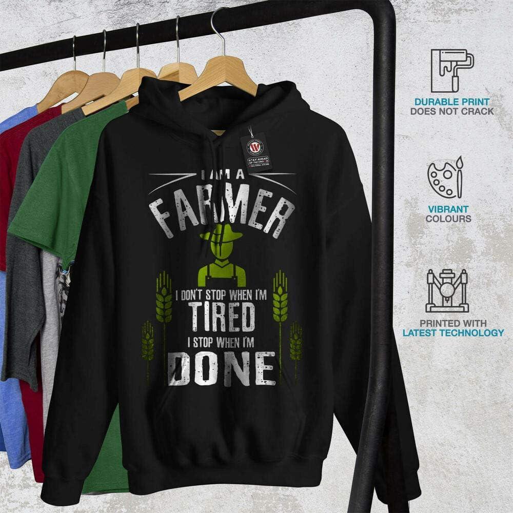 Wellcoda Farmer Job I Stop Mens Hoodie When Done Casual Hooded Sweatshirt