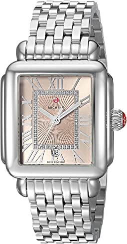 Michele Deco Madison Stainless Steel Watch with Beige Diamond Dial