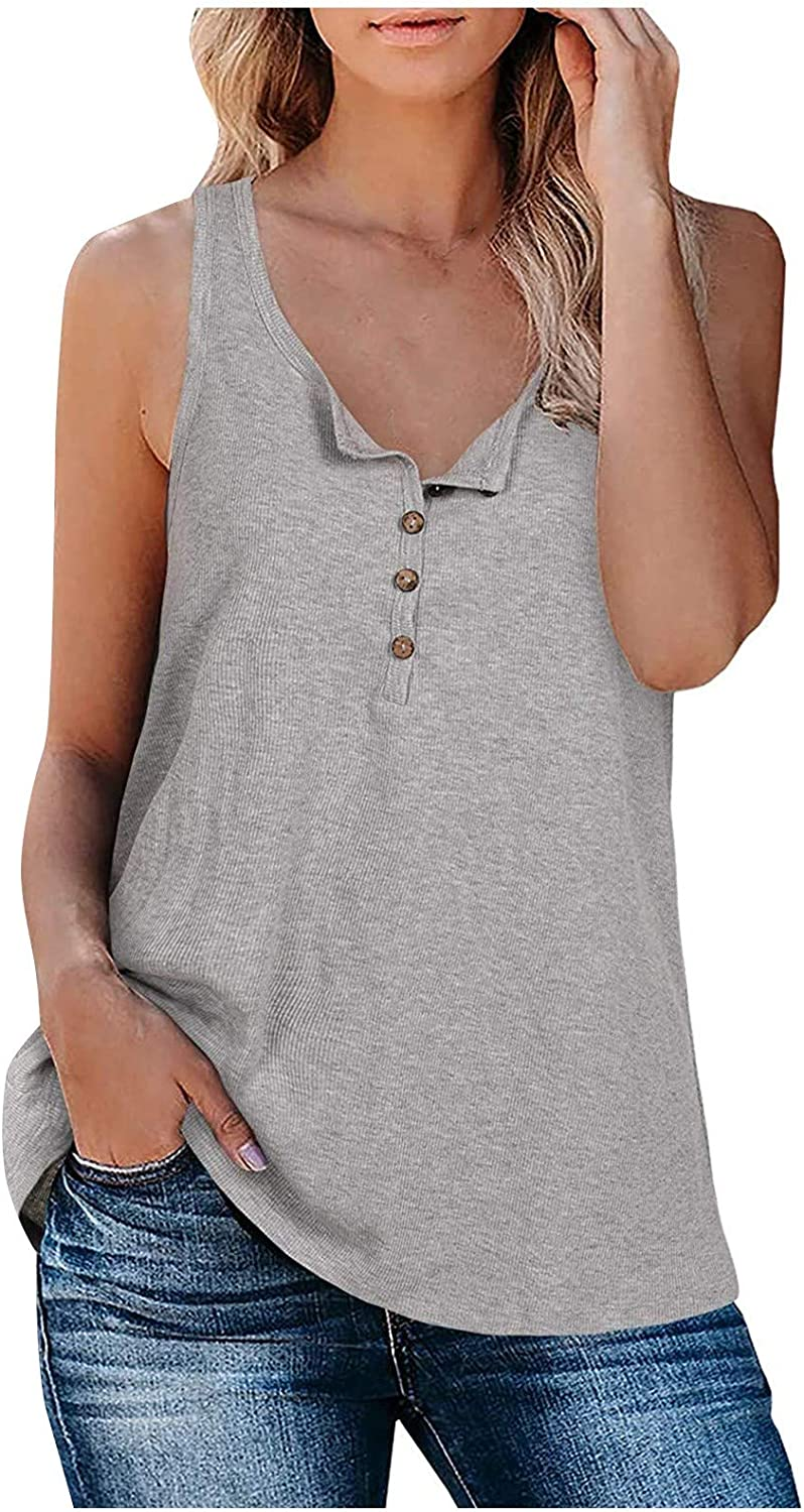 Tank Tops,Fashion Womens Sexy Solid Color Buttons Casual Top Vest Halter Blouse T-Shirt Yoga Tops
